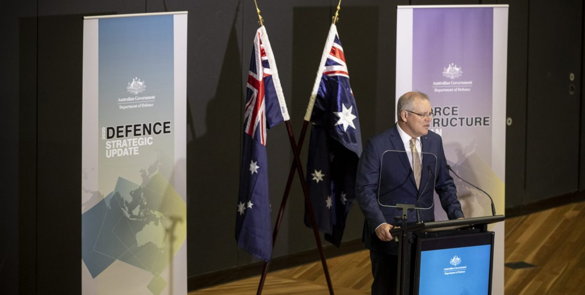 The Prime Minister of Australia, the Hon Scott Morrison, at the launch of the 2020 Defence Strategic Update and the 2020 Force Structure Plan at the Australian Defence Force Academy, Canberra. *** Local Caption *** The Prime Minister of Australia, the Hon Scott Morrison, and the Minister for Defence, Senator the Hon Linda Reynolds, launched the 2020 Defence Strategic Update and the 2020 Force Structure Plan at the Australian Defence Force Academy on 1 July 2020. The Defence Strategic Update sets out the Government's new defence strategy, which has three core objectives: to shape Australia's strategic environment; deter actions against Australia's interests; and respond with credible military force, when required. The Force Structure Plan sets out current and future Defence capability investments to ensure Australia can continue to deliver a potent, agile, affordable, and sustainable Defence Force in line with the Government's strategy.